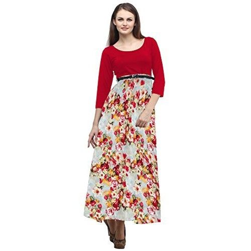 Cottinfab Women Rayon #Red #Dress (Small)