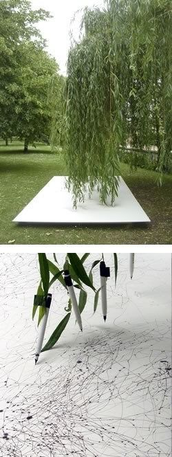 pens attached at the end of a willow tree. lines then being created onto a huge canvas