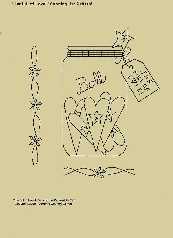 "Primitive Stitchery E-Pattern, ""Jar full of Love! Canning Jar with Primitive Tag""."
