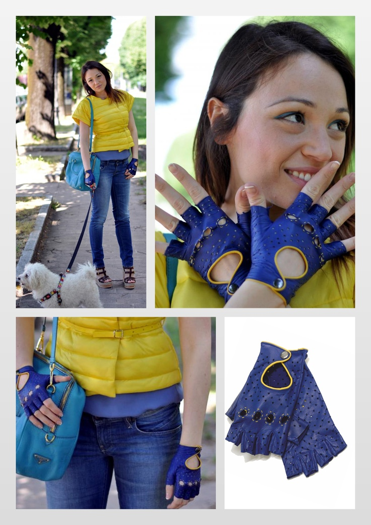 A new look of the fashion blogger #theprincessgown wearing our bicolor nappa driving gloves   http://www.theprincessgown.com/i-love-being-lemon
