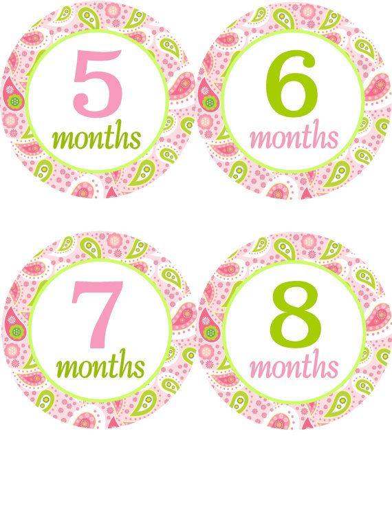 Pegatinas mensual de bebé para bebé muchacha bebé niña mensual