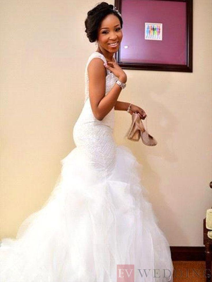 Trumpet/Mermaid Tulle Floor-Length Court Wedding Dress With Sleeveless