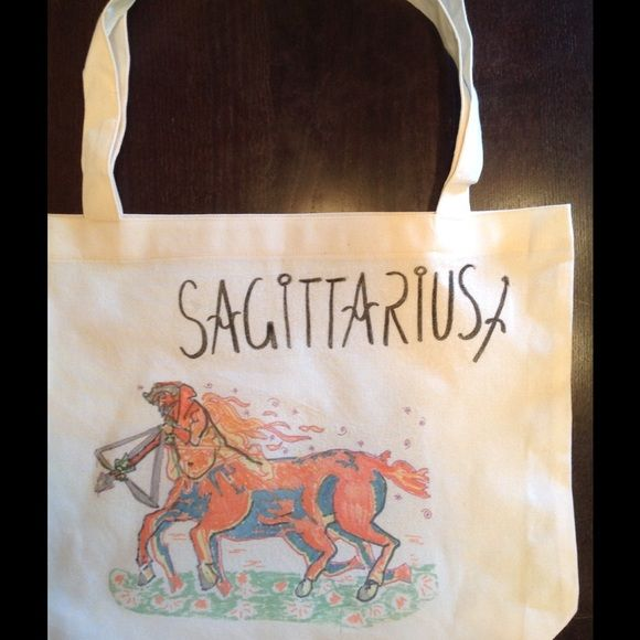 "Hey , what's your sign? hand drawn tote by AA! SAGITTARIUS hand drawn original screened on 50/50 cotton poly American Apparel tote bag! 17.5x18"" American Apparel Bags Totes"