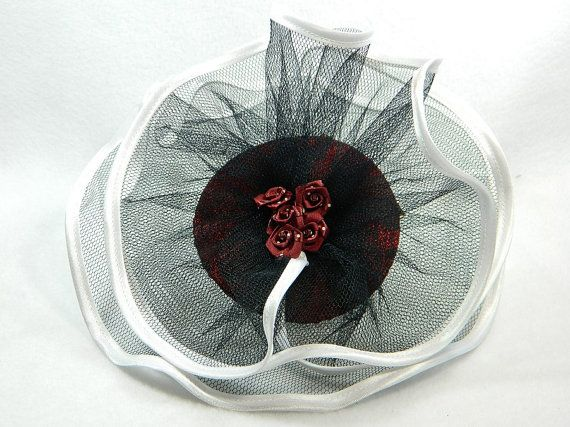 Fascinator red white black Ladies Hat Cocktail by Nashimiron