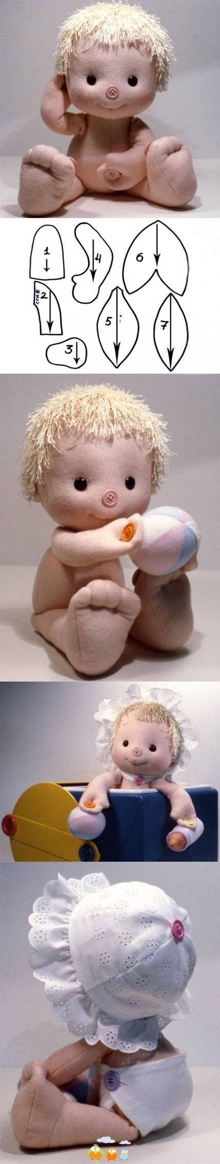 """This little baby doll is slightly soft sculpted, has pattern pieces, NO instructions, but has photo tutorial, and for the experienced doll maker, I'd say...just adorable, and I'm thinkin' it's not much more than 8"""" tall IF that...just precious, tho'...I'll be making some that is for sure!!!!"""