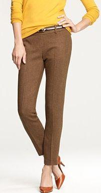 Brown pants, mustard shirt, and brown shoes