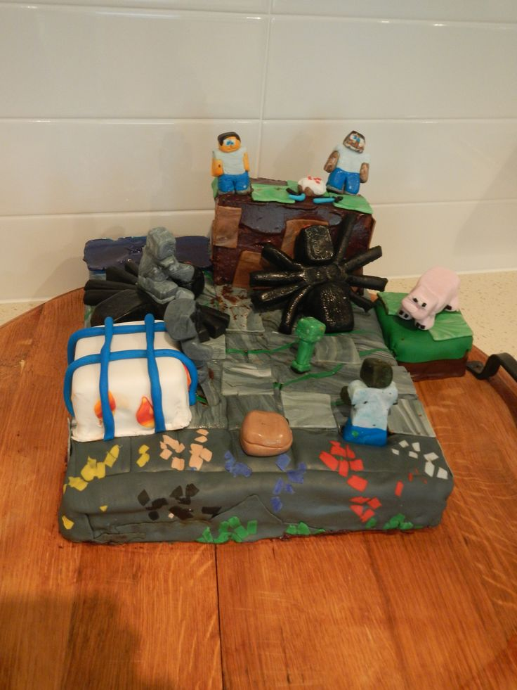 Mine craft cake, made for Laura and Imogin's 14th birthday