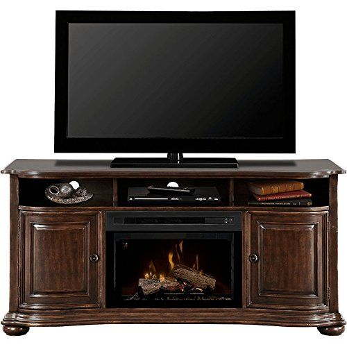 "Dimplex Henderson Electric Fireplace & Entertainment Center - Realogs Firebox (GDS25L-1414HC). Dazzling Multi-Fire XDâ""¢ can accurately reproduce a natural wood-burning fire, gas fireplace or a range of ambient light themes. Patented Comfort$averâ""¢ ceramic heating system uses 11% less energy than the leading quartz infrared heater. Light plays through and reflects off of chunks of acrylic ice nestled on a bed of crushed glass. Exclusive gWaveâ""¢ feature brings the fireplace to life with…"