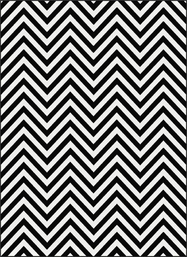 Tayse Rugs Metro Collection 1016 Black/White Chevron Rug. #superarearugs #