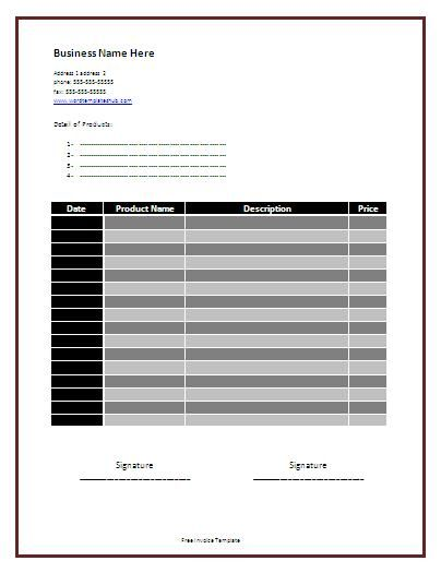 Product Invoice Templates 3+ Printable Word  Excel Formats