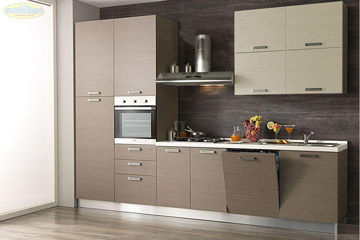 Prezzo: € 1599  Cucina con anta larice grigio e anta pensile larice crema completa di elettrodomestici  Dimensioni: L.330 P.60 H.240