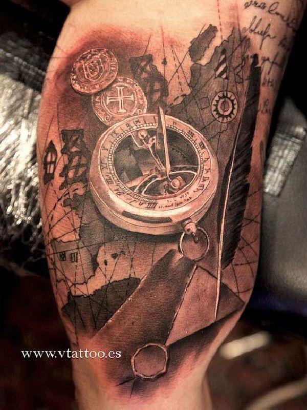 40 wundervolle kompass tattoos himmelsrichtungen einfache linien und kompass. Black Bedroom Furniture Sets. Home Design Ideas