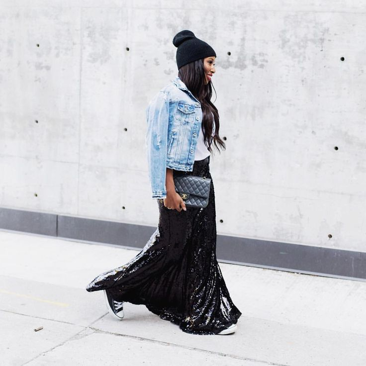 How to wear converse sneakers, sequin maxi skirt outfit, denim jacket, beanie hat, sneakers, high top sneakers