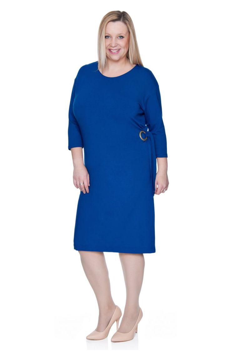 Kobaltowa sukienka z wiązaniem - Modne Duże Rozmiary