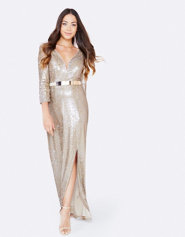 Sequin Maxi Dress With Belt