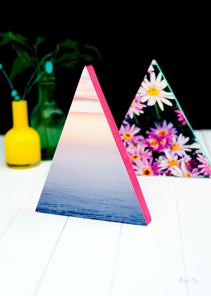DIY Neon Triangle photo frames |