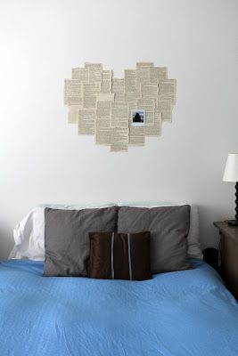 Book page heart art above bed (Stuck to wall with blue tack so it's renter friendly)