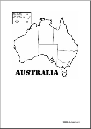 Australia Theme Unit: Printable Map to label and color.
