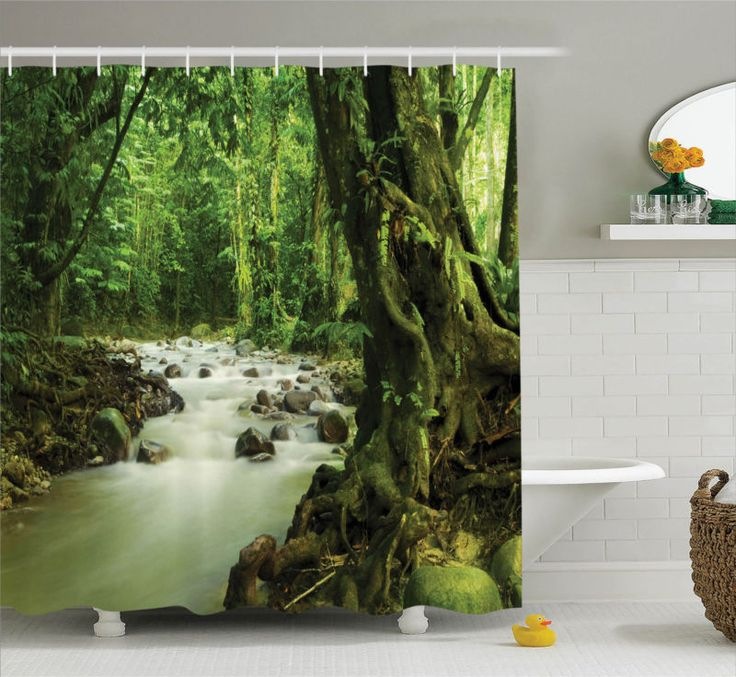 Rainforest Rocky River in Selangor State Malaysia Wildlife Shower Curtain Set