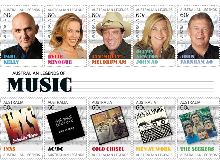 "Australian Legends of Music stamp series (2013): Australian Legends includes individual artists Paul Kelly, Kylie Minogue, Ian ""Molly"" Meldrum, Olivia Newton-John AO, and John Farnham AO; and iconic bands INXS, AC/DC, Cold Chisel, Men At Work, and The Seekers."