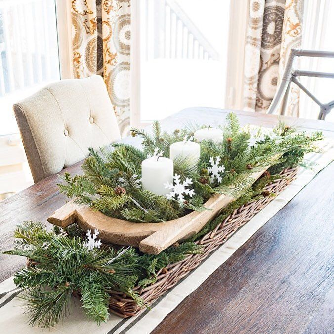Easiest Winter Centerpiece Ever Table Runner Long Basket Dough Bowl Fake Chr Christmas Table Decorations Centerpiece Winter Home Decor Winter Centerpieces