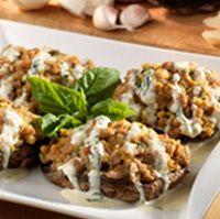 Olive Garden's Italian Sausage stuffed portobello mushrooms with herb parmesan cream sauce