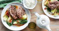 Follow this simple lamb chump chops with Asian greens in oyster sauce recipe for a delicious meal.