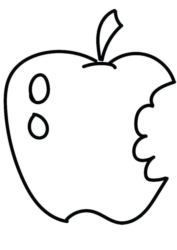 Half Eaten Coloring Page Coloring Pages Coloring Pages For Kids Apple Coloring Pages