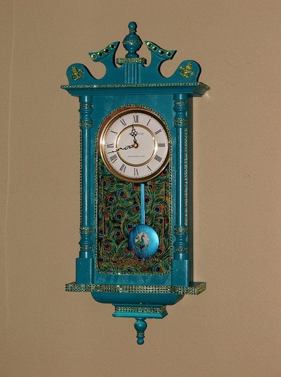 Turquoise Peacock Painted Wall Clock / Refurbished Shabby Chic Grandmother  Clock / Ornate Cabinet Pendulum Chiming
