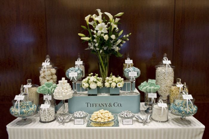 Love this candy buffet - with two simple flower arrangements and daisy cake instead of larger arrangement - all in shades of cream, blush etc - obviously no Tiffany Box.