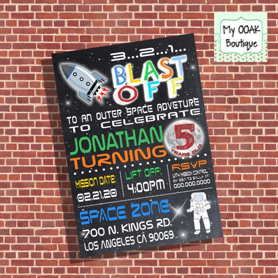 Space rocket birthday party invitation outer space invite astronaut blast off party digital printable you print invite 13358 by myooakboutique on Etsy https://www.etsy.com/listing/214463871/space-rocket-birthday-party-invitation