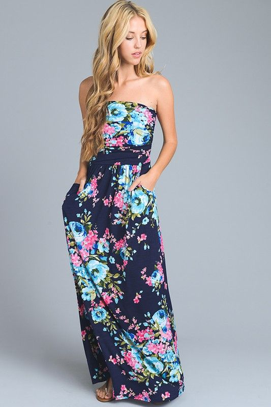 *THIS IS A PREORDER ITEM! ITEM WILL ARRIVE ON JUNE 12* Oh la la! The essential dress for summer! Our Thrive All Night strapless maxi dress features a bold and beautiful all over mixed floral print wit