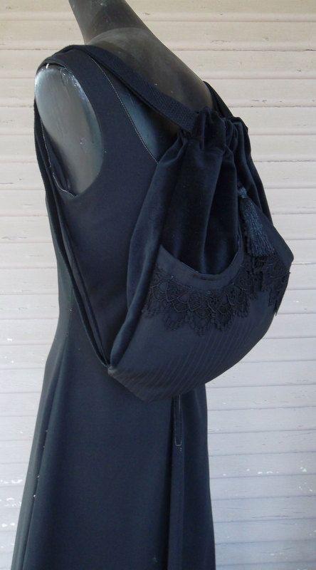 Black Lace Backpack Black Stripe on Black Backpack Victorian