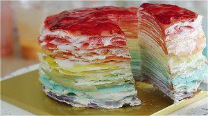Приготовление торта из блинов Радуга. Шаг 5.