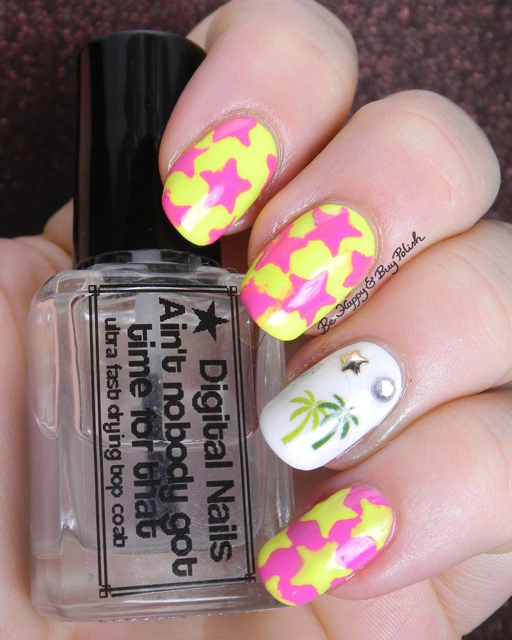 neon yellow and pink stars with palm tree nail art skittlette manicure | Be Happy And Buy Polish http://behappyandbuypolish.com/2015/10/12/neon-pink-yellow-stars-and-palm-tree-nail-art/