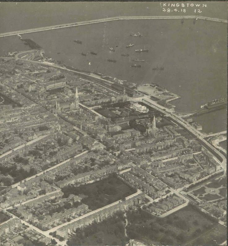 Probably one of the earliest aerial photos of Dun Laoghaire or Kingstown as it was then. Taken on April 28th,1918. This was a reconnaissance stereoview taken by the R.A.F., which had only been formed on April 1st, 1918.