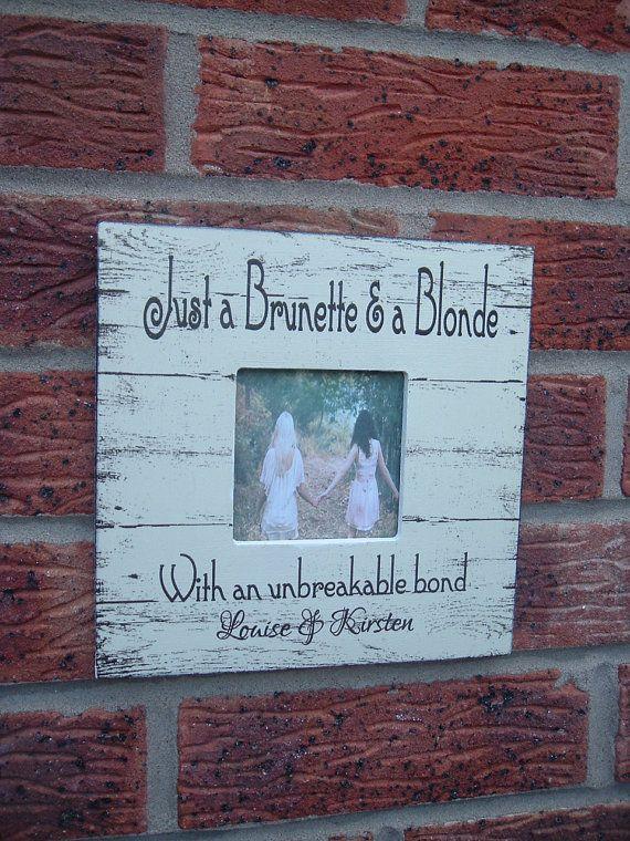 Best Friends picture frame brunette blonde by VintageSignBoutique