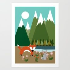 Fox and the Rabbit Art Print