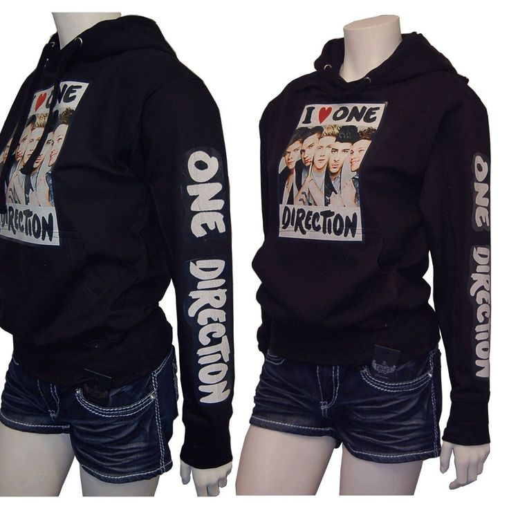 ONE DIRECTION 1D PVC Printed Black Pullover SweatShirt w/Hoodie Size Medium
