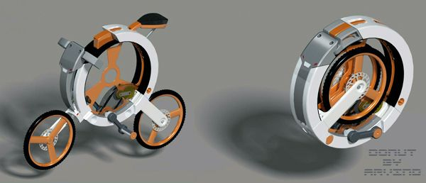 Designer: Arvind M  Unlike existing folding bicycle designs that fold into a triangular shape, the Donut bike folds into a super-compact circle that leaves no component exposed. From the handlebars to the pedals, everything is safely tucked away and making it incredibly easy to tote around and store.