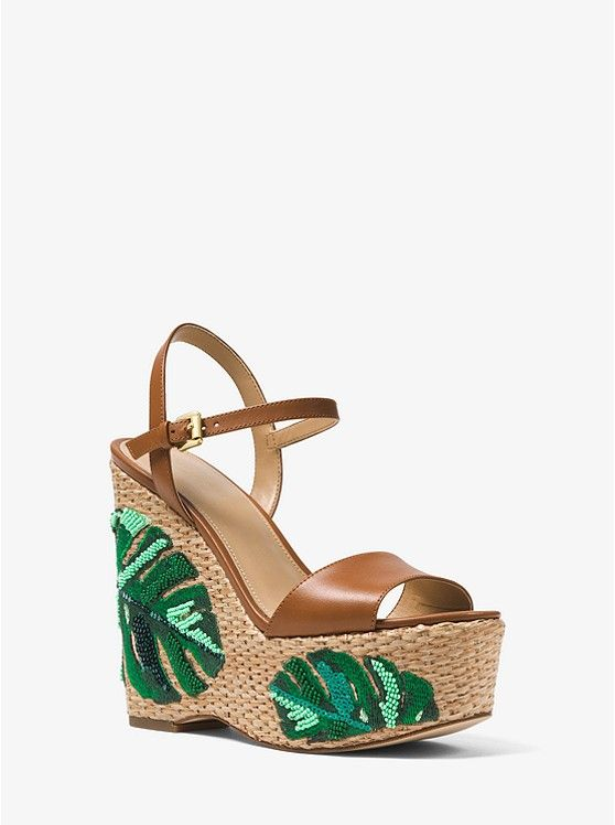 3ad46122f Fisher Palm Embroidered Wedge_preview0 Michael Kors Collection, Comfortable  Fashion, Smooth Leather, Wedge Wedding