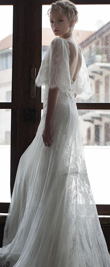 persy bridal spring 2016 half scalloped bell sleeves open back romantic lace wed…