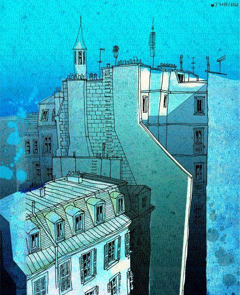 Paris illustration  In an old house in Paris  Fine art by tubidu, $20.00