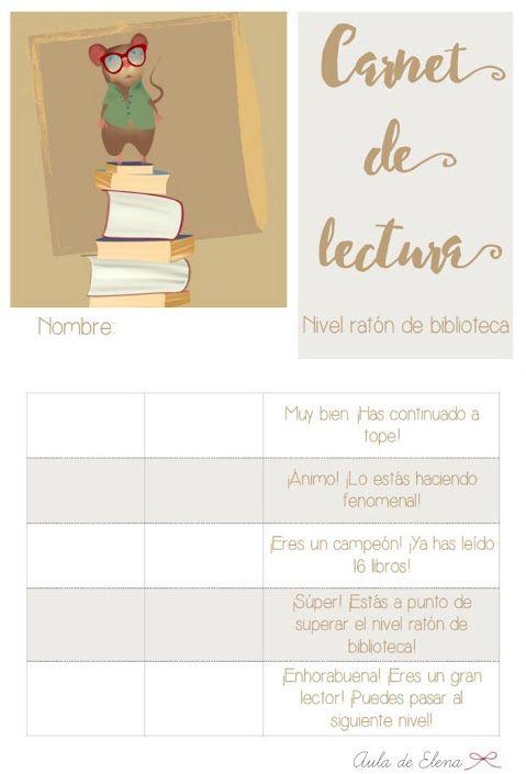 Carnet de lectura nivel RATÓN DE BIBLIOTECA del blog Aula de Elena. Descargable…