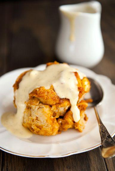 Pumpkin Bread Pudding with Bourbon Vanilla Sauce--@Derek Ahlberg, you ...