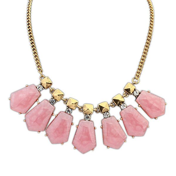 Eva Pretty In Pink Necklace £8.00  Pretty in pink, this necklace is a worthy opponent in our list of best sellers. The prominent pink stones are attention grabbing, whilst the gold studding gives it a hint of attitude, everything a lady of the world needs in an outfit. Stylish, elegant and charismatic; the perfect necklace for any trendsetter.