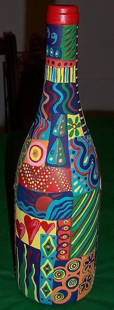 painted bottles: