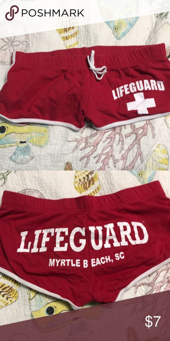 d575f02c199e Lifeguard Booty Shorts Marked as medium but fit more like a small Cracking  in some of the letters Tagged with Myrtle Beach