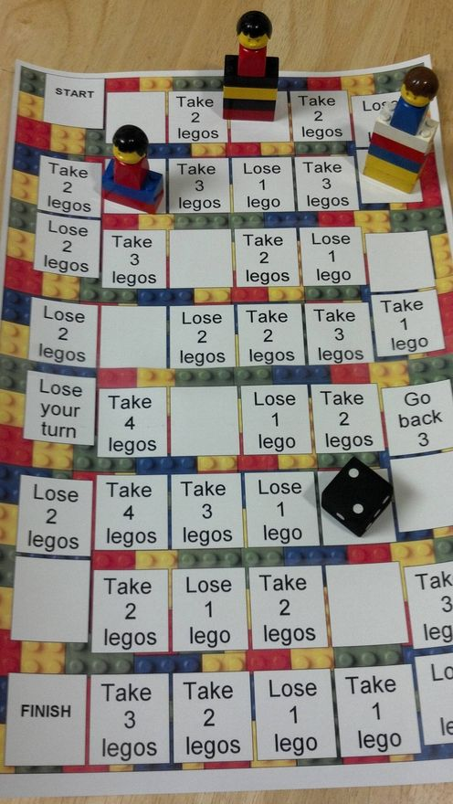 Lego game, use a Lego guy, add & lose blocks as you go, depending on where you land. Winner has highest tower of Legos