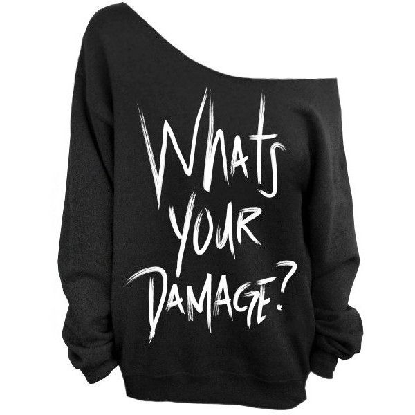 Whats Your Damage Sweatshirt Heathers Black Slouchy Oversized... (£19) ❤ liked on Polyvore featuring tops, hoodies, sweatshirts, black, women's clothing, oversized tops, slouchy tops, slouchy oversized sweatshirt, slouchy sweatshirt and loose tops